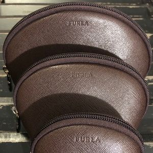 FURLA Brown Leather Cosmetic Bag Pouches Set of 3